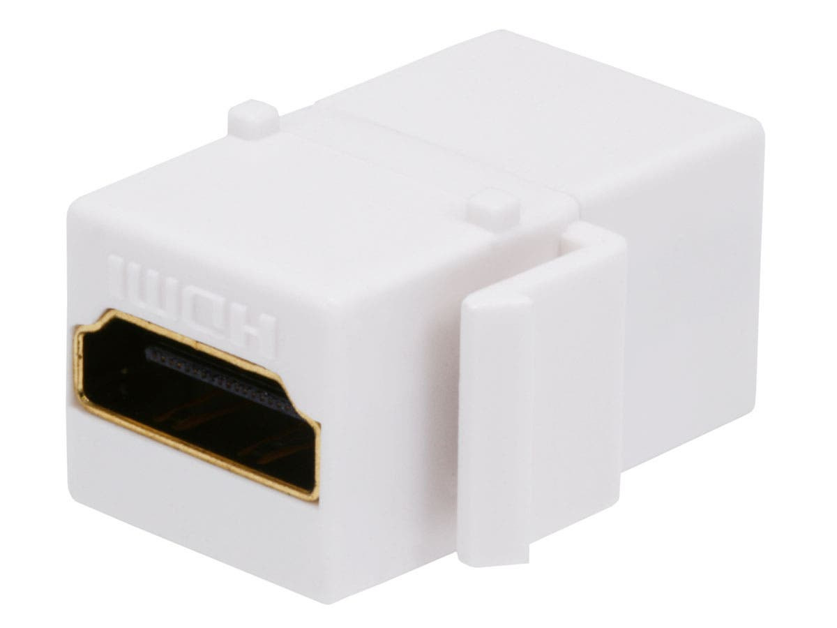 Monoprice Keystone Jack HDMI Female to Female Coupler Adapter, White-Large-Image-1