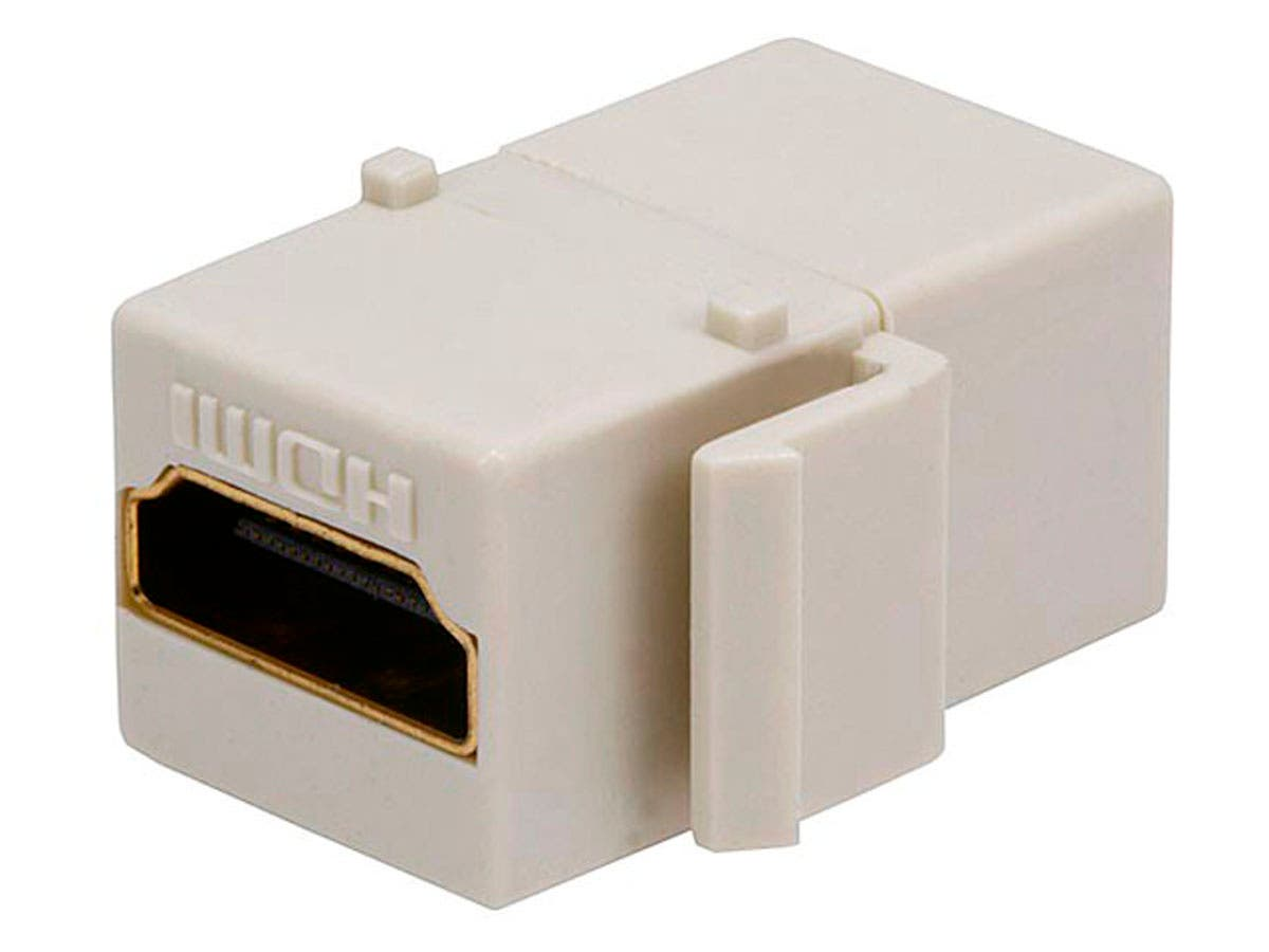 Monoprice Keystone Jack HDMI Female to Female Coupler Adapter, Ivory-Large-Image-1