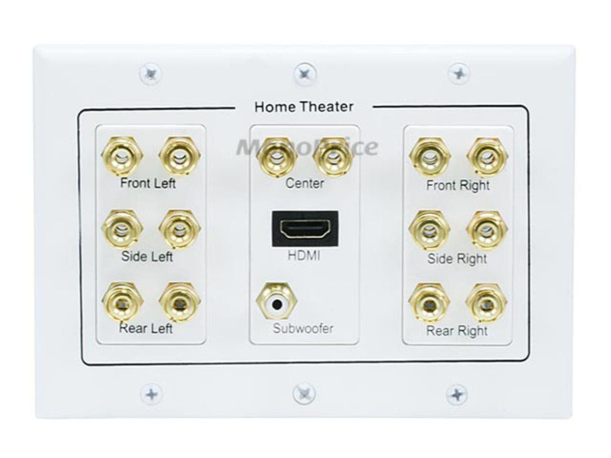 Monoprice 3-Gang 7.1 Surround Sound Distribution Wall Plate with ...