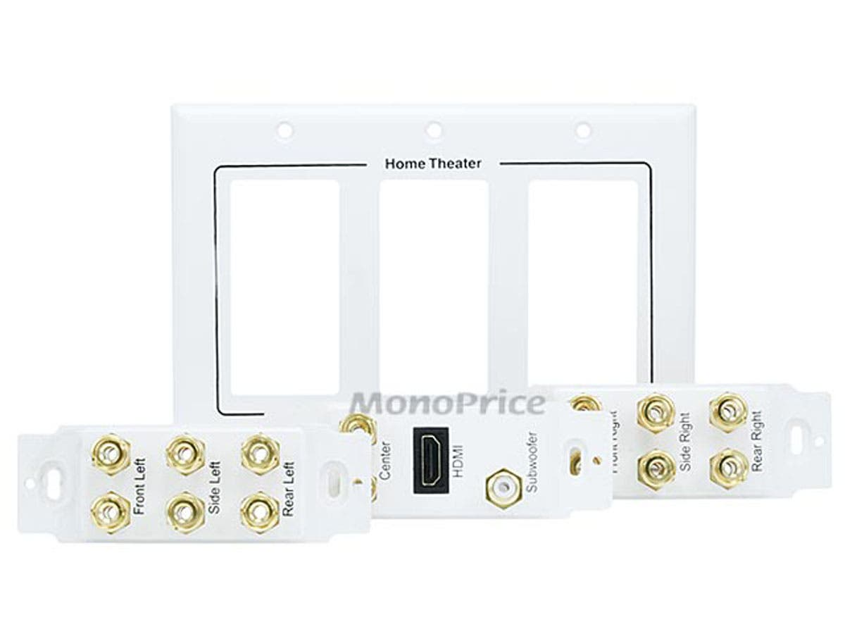 Gold Plated No Wire Pull-Outs Monoprice 2-Gang 7.2 Surround Sound Distribution Wall Plate