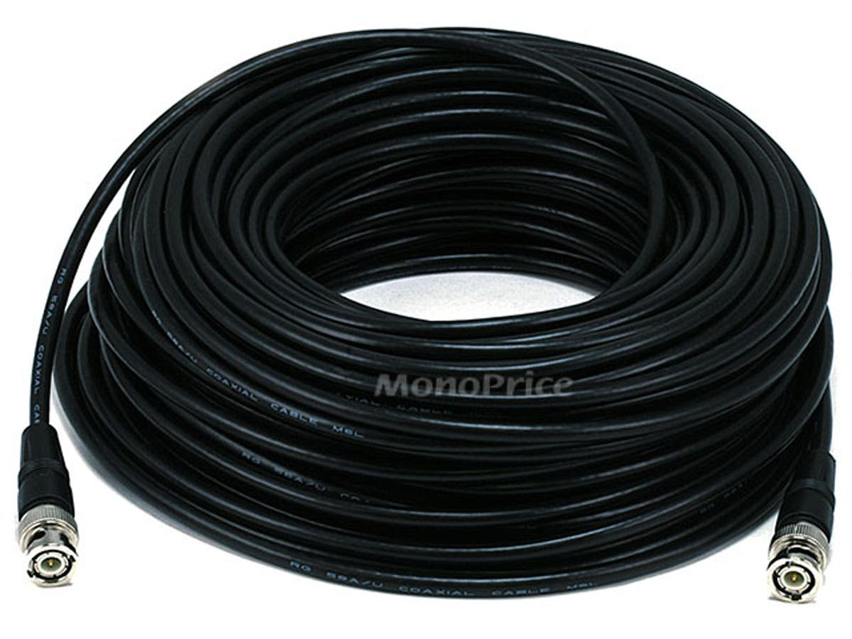 Monoprice 100ft RG/58 AU 48% Braid - Black-Large-Image-1