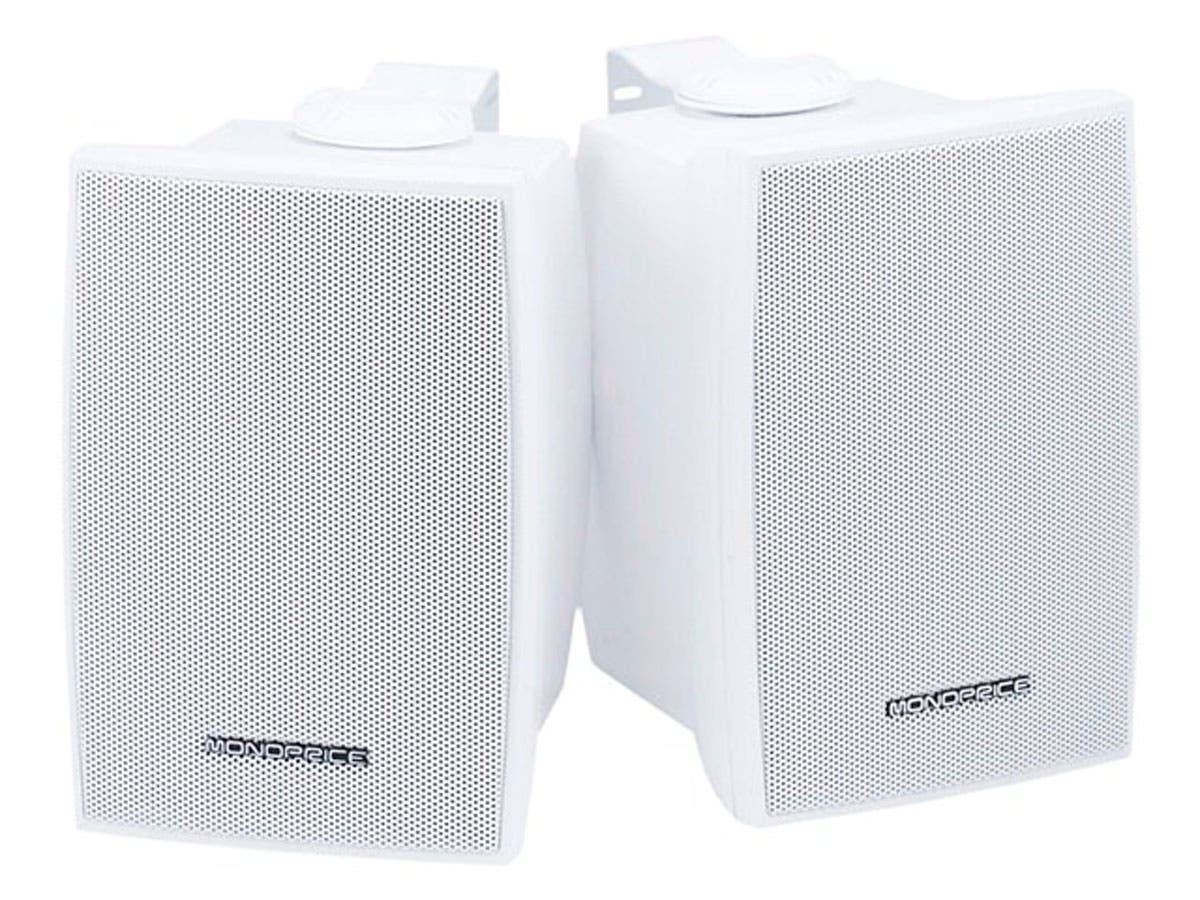 Monoprice 3.25in 2-Way Indoor/Outdoor Weatherproof Speakers, 30W Nominal, 60W Max (Pair)-Large-Image-1