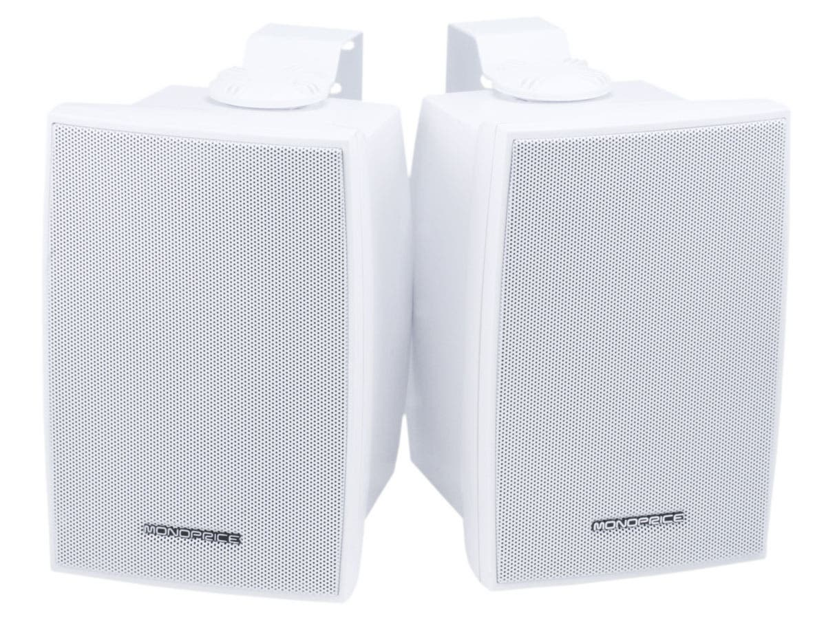 Monoprice 5.25in 2-Way Indoor/Outdoor Weatherproof Speakers, 40W Nominal, 80W Max (Pair)-Large-Image-1