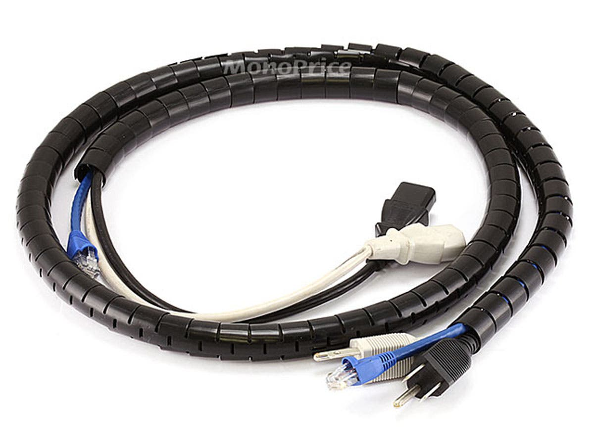 Monoprice Spiral Wrapping Bands - 15mm x 1.5m (Black) - Monoprice.com