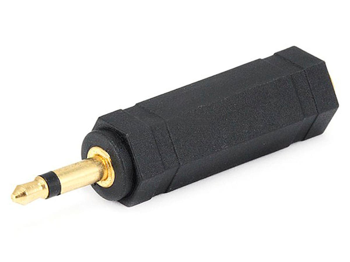 Monoprice 3.5mm TS Mono Plug to 1/4in (6.35mm) TS Mono Jack Adapter, Gold Plated-Large-Image-1