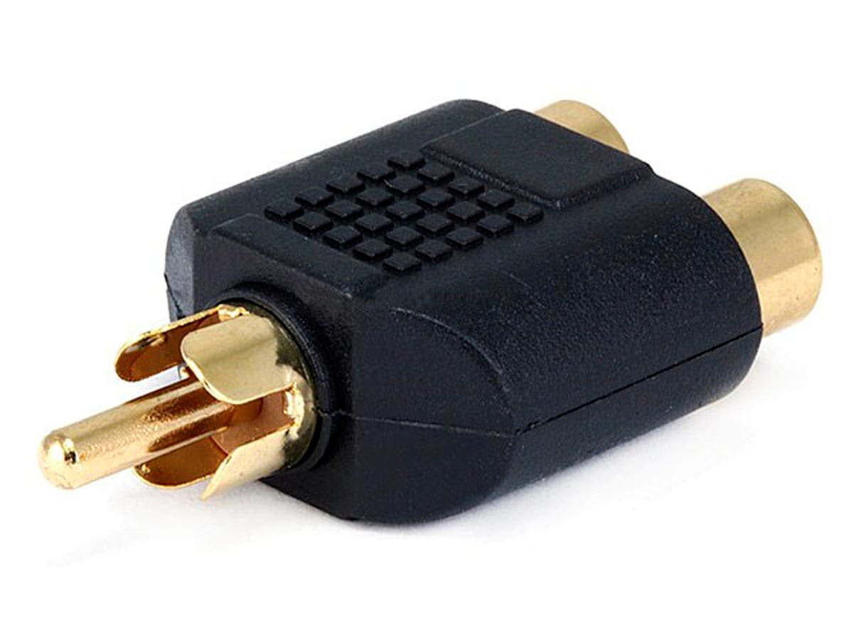 RCA Plug to 2x RCA Jack Splitter Adapter, Gold Plated-Large-Image-1