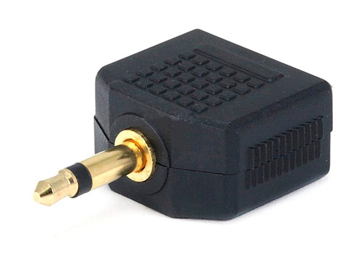 3.5mm TS Mono Plug to 2x 3.5mm TS Mono Jack Splitter Adapter, Gold Plated-Large-Image-1