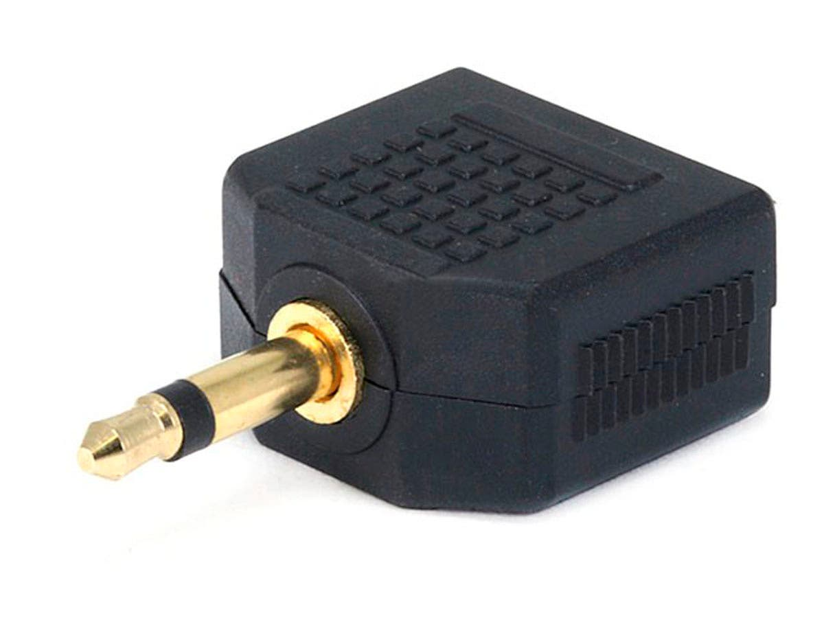 3.5mm TS Mono Plug to 2x 3.5mm TRS Stereo Jack Splitter Adapter, Gold Plated