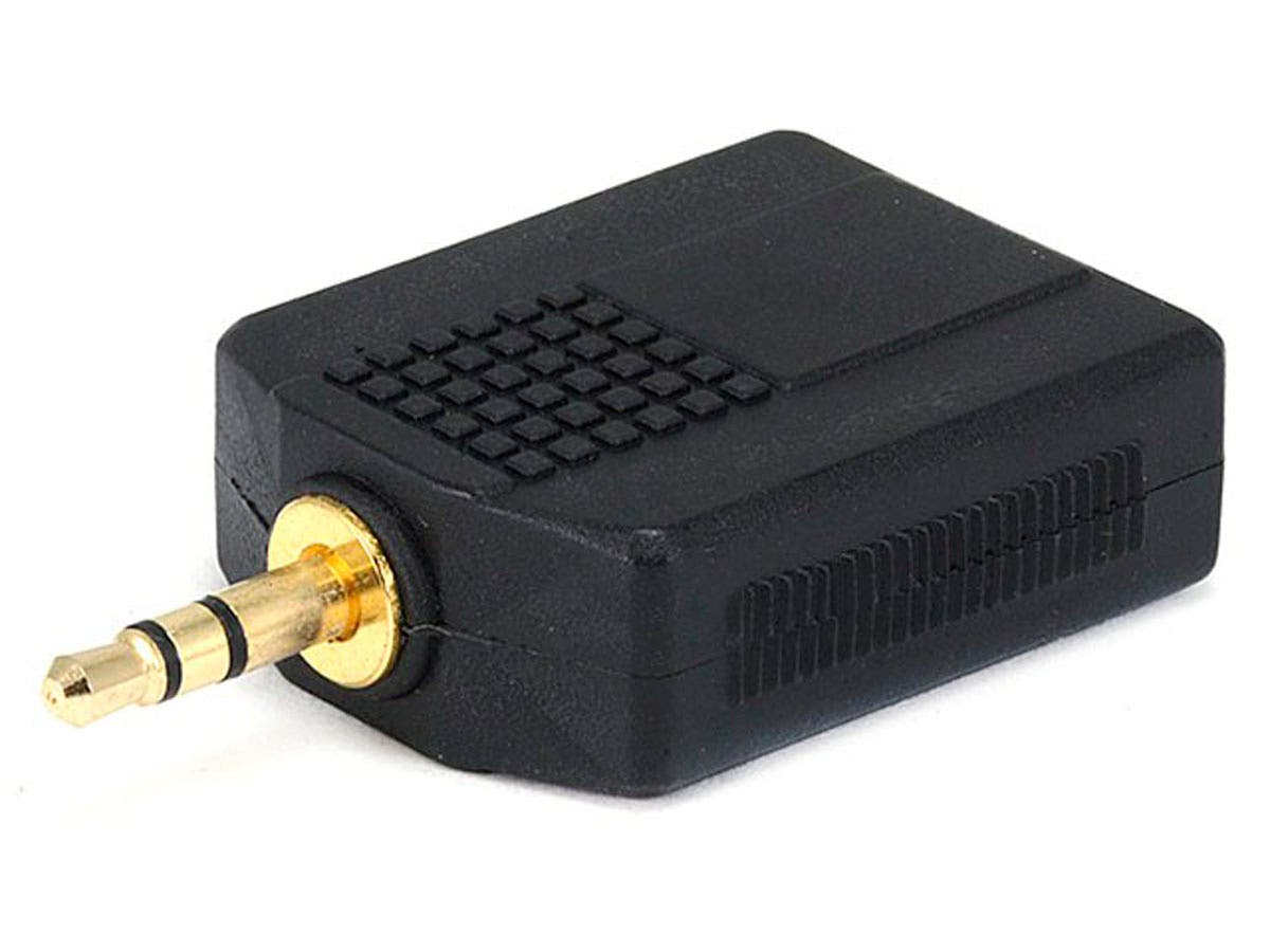 Monoprice 3.5mm TRS Stereo Plug to 2x 1/4in (6.35mm) TRS Stereo Jack Splitter Adapter, Gold Plated-Large-Image-1