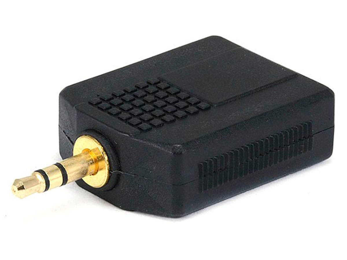 Monoprice 3.5mm TRS Stereo Plug to 2x 1/4in (6.35mm) TS Mono Jack Splitter Adapter, Gold Plated-Large-Image-1