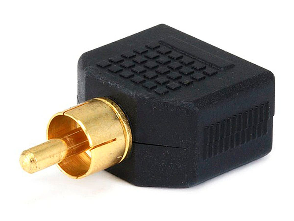 Monoprice RCA Plug to 2x 3.5mm TS Mono Jack Splitter Adapter, Gold Plated-Large-Image-1