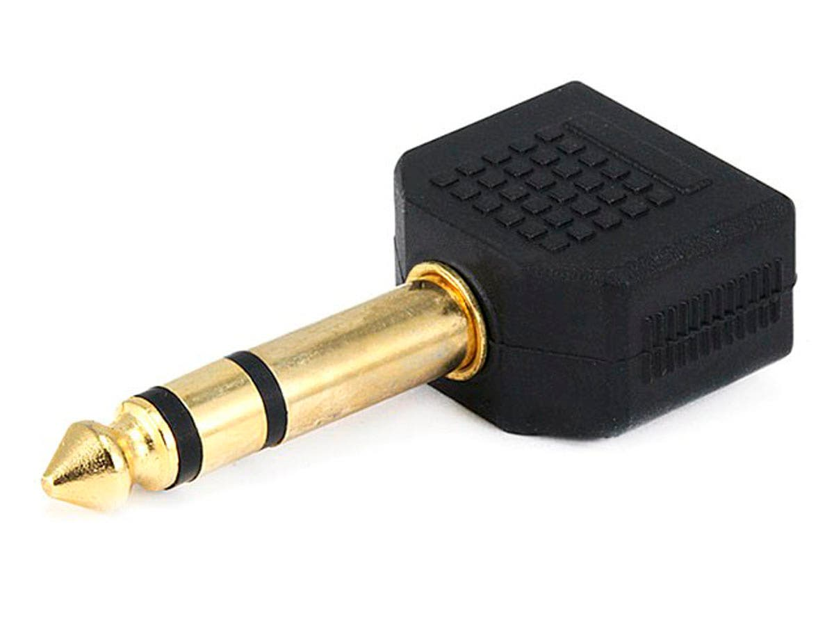 1/4in (6.35mm) TRS Stereo Plug to 2x 3.5mm TRS Stereo Jack Splitter Adapter, Gold Plated-Large-Image-1