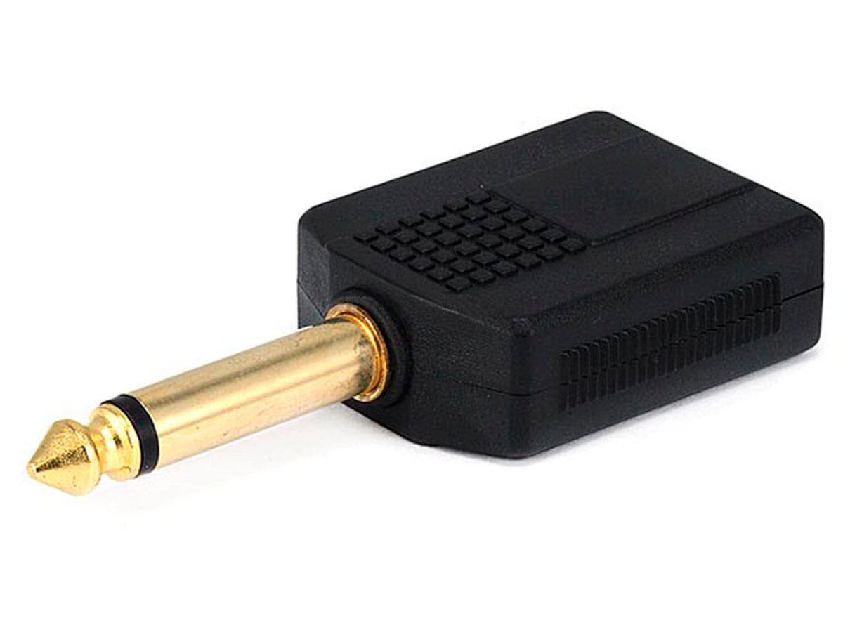 Monoprice 1/4in (6.35mm) TS Mono Plug to 2x 1/4in (6.35mm) TS Mono Jack Splitter Adapter, Gold Plated-Large-Image-1
