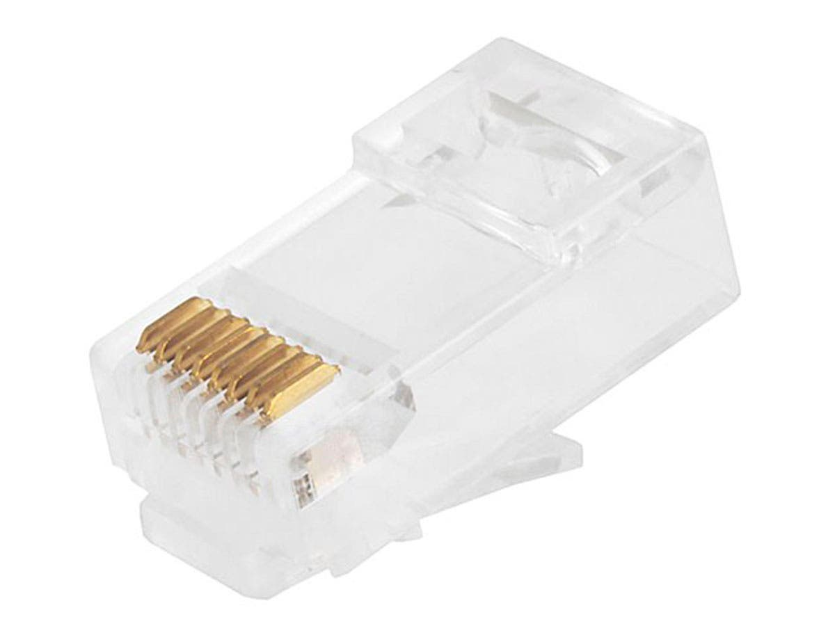 8P8C RJ45 Plug with Inserts for Solid Cat6 Ethernet Cable, 100 pcs/pack