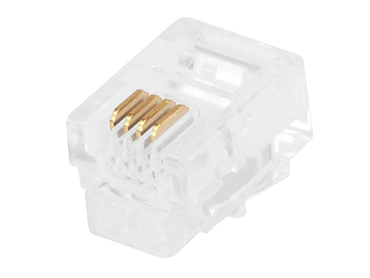 6P4C RJ11 Plug for Flat Stranded Phone Cable, 50 pcs/pack