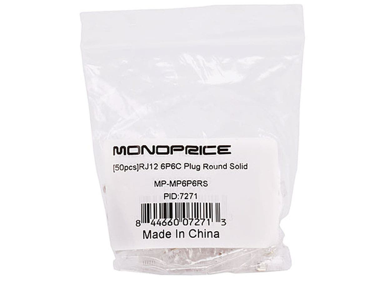 monoprice 6p6c rj12 plug for round solid phone cable 50. Black Bedroom Furniture Sets. Home Design Ideas