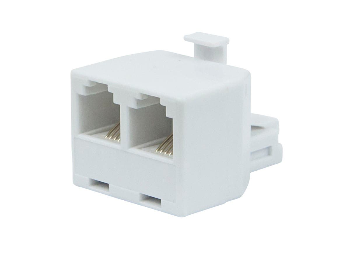 6P4C T Adapter, 1x Male to 2x Female, White