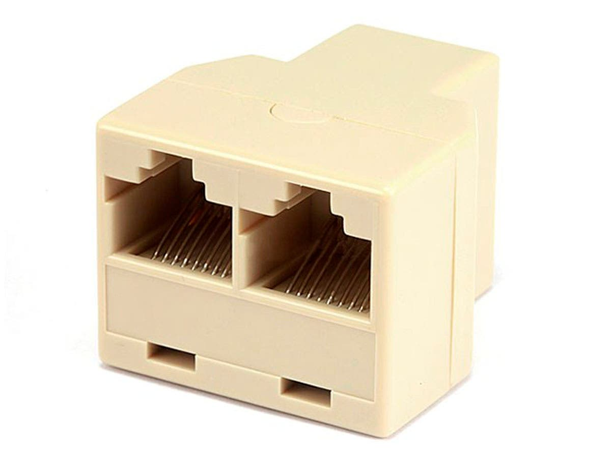 8P8C RJ45 T Adapter, 1x Female to 2x Female