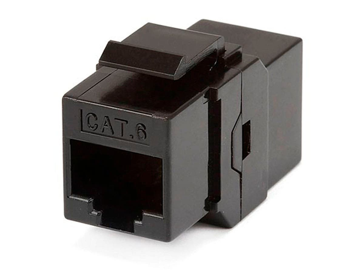 8P8C RJ45 Cat6 Inline Coupler Type Keystone Jack, Black