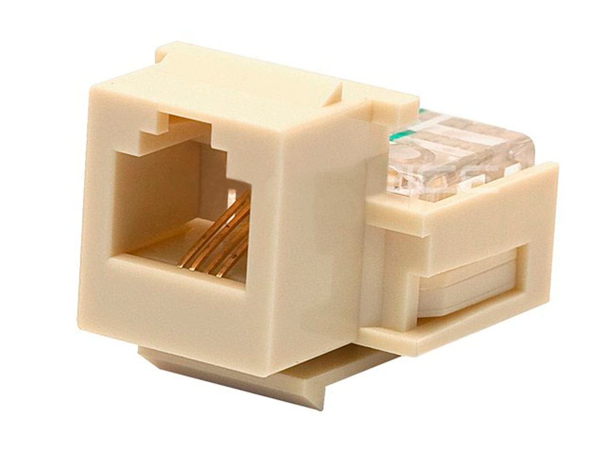 RJ11 Toolless Keystone Jack, Ivory