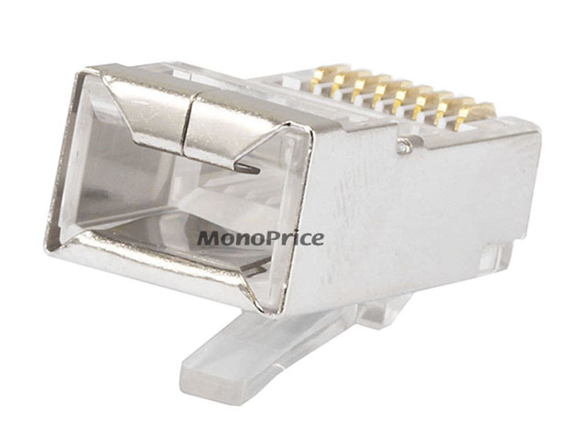 Monoprice 8p8c Rj45 Shielded Plug For Round Stranded Or Solid Cat5 Wiring Connectors Ethernet Cable 100 Pcs