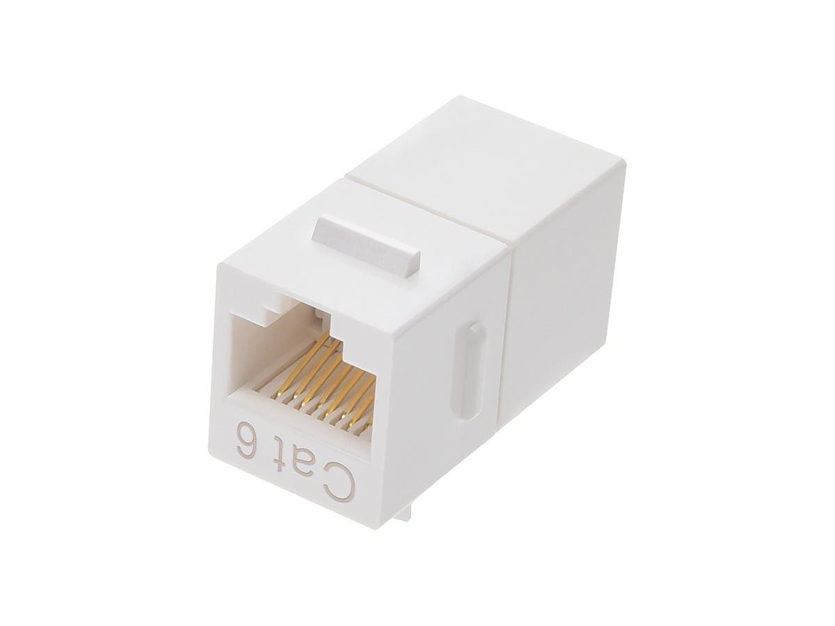 8P8C RJ45 Cat6 Inline Coupler Type Keystone Jack, White