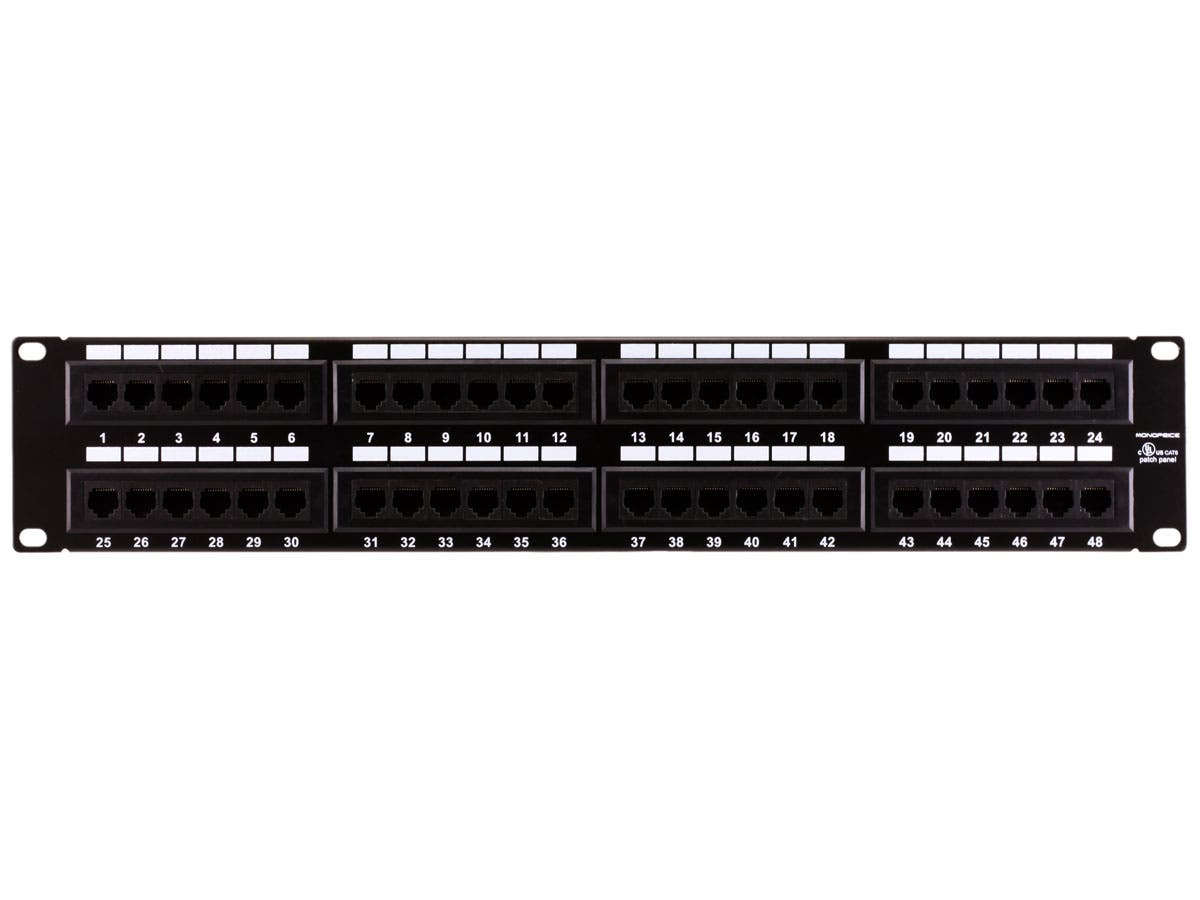Cat6 patch panel feed-through, high-density, 1u, shielded, 48-port.