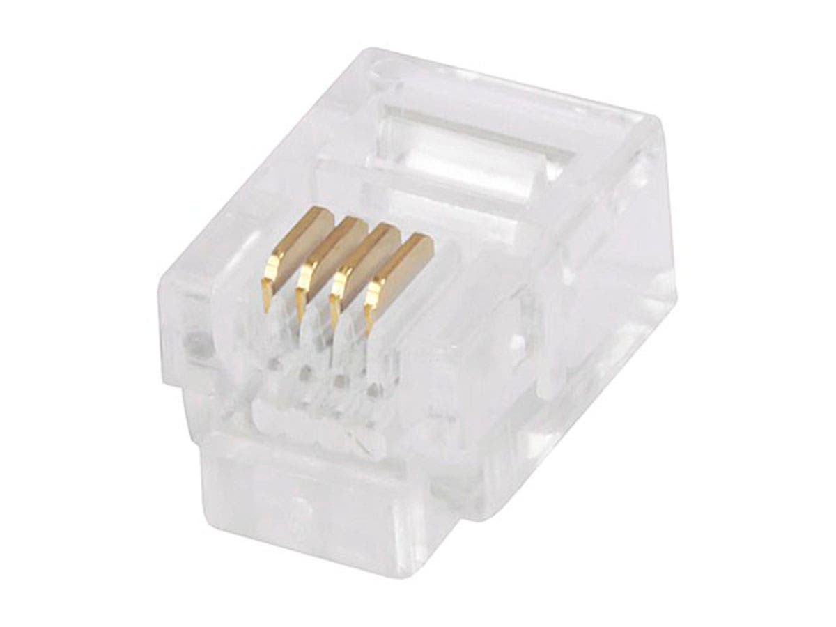6P4C RJ11 Plug for Round Stranded Phone Cable, 50 pcs/pack