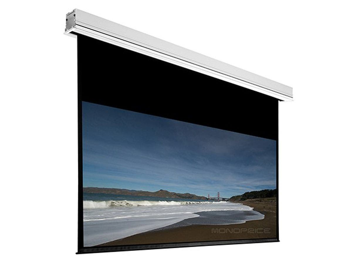 monoprice 120in hd white fabric ceilingrecessed motorized