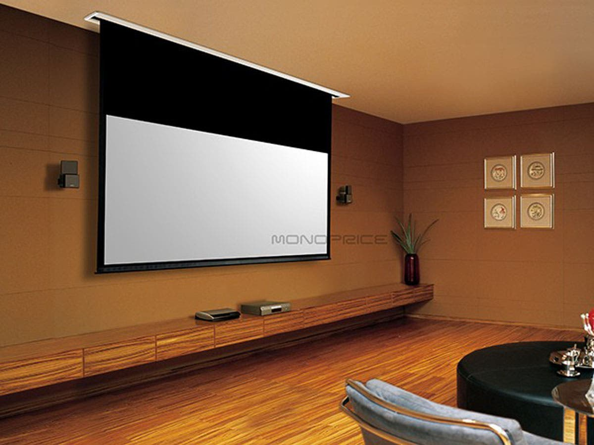 Beau Monoprice 120in HD White Fabric Ceiling Recessed Motorized Projection Screen  16:9 Small