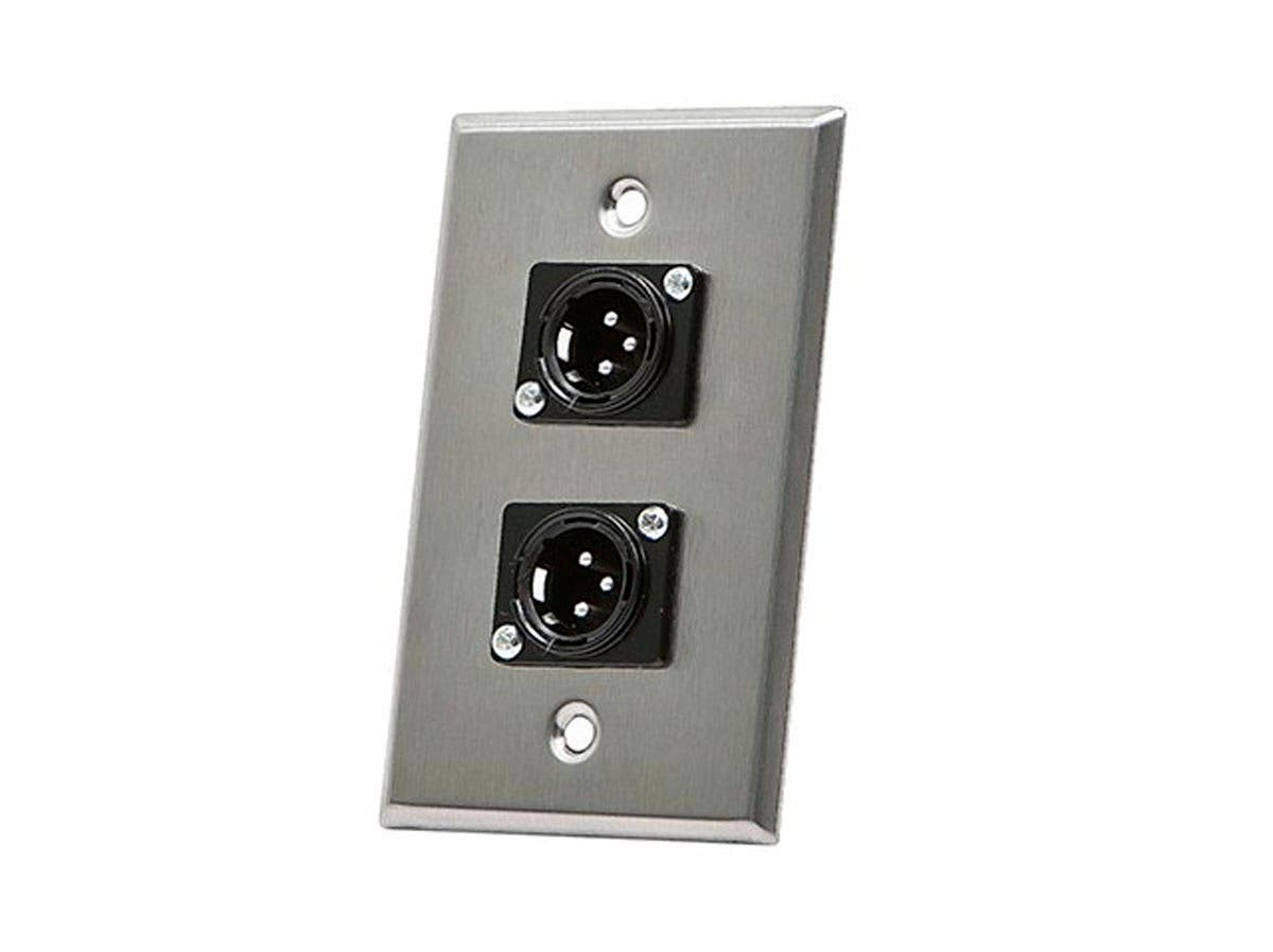 Monoprice 2-port 3-pin XLR Male Zinc Alloy Wall Plate-Large-Image-1