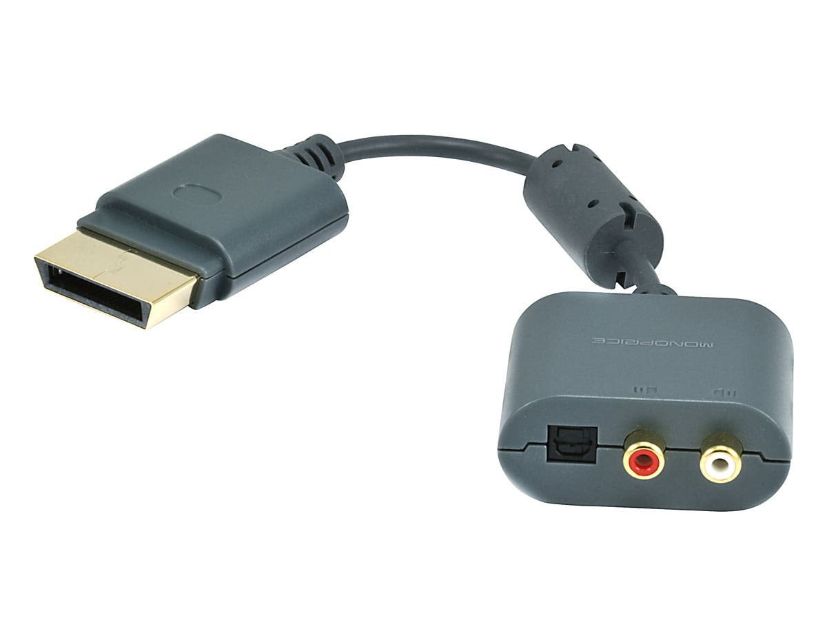Monoprice Analog Stereo and S/PDIF (Toslink) Digital Optical Audio Adapter for Xbox 360-Large-Image-1