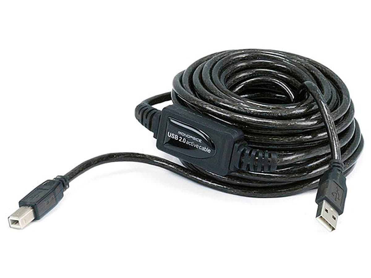 Monoprice USB-A to USB-B 2.0 Cable - Active, 28/24AWG, Black, 33ft-Large-Image-1