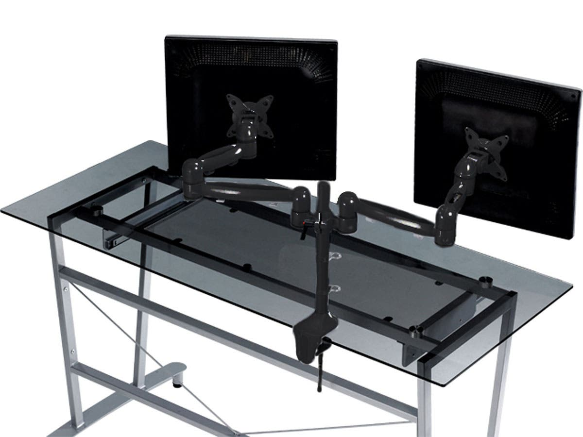 Tilt Swivel Dual Monitor Desk Mount Bracket Max 17 5 Lbs Per Arm 15 22in Black Monoprice