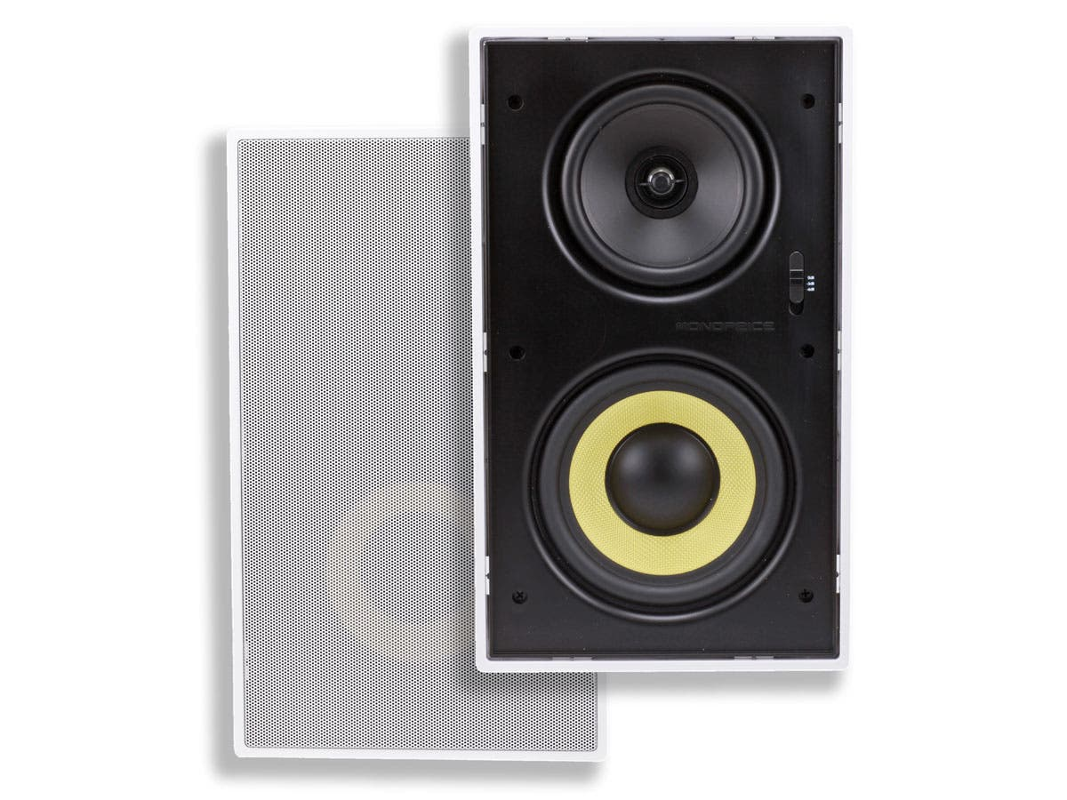 Monoprice Caliber In-Wall Speakers 6.5in Fiber 3-Way with Concentric Mid/Highs (pair)-Large-Image-1