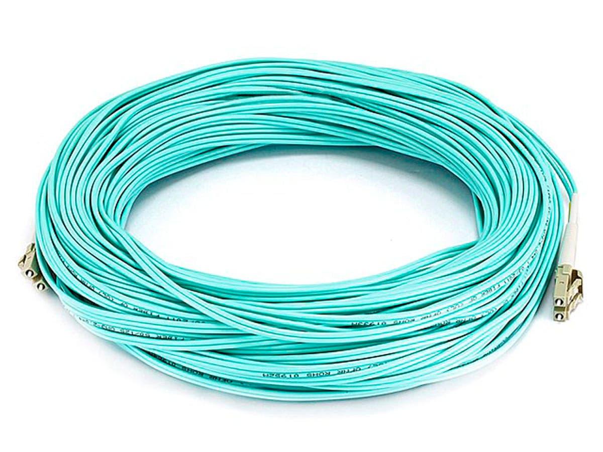 Monoprice Fiber Optic Cable - LC to LC, OM3, 50/125 Type, Multi Mode, 10Gb, Duplex, Aqua, 40m, Corning-Large-Image-1