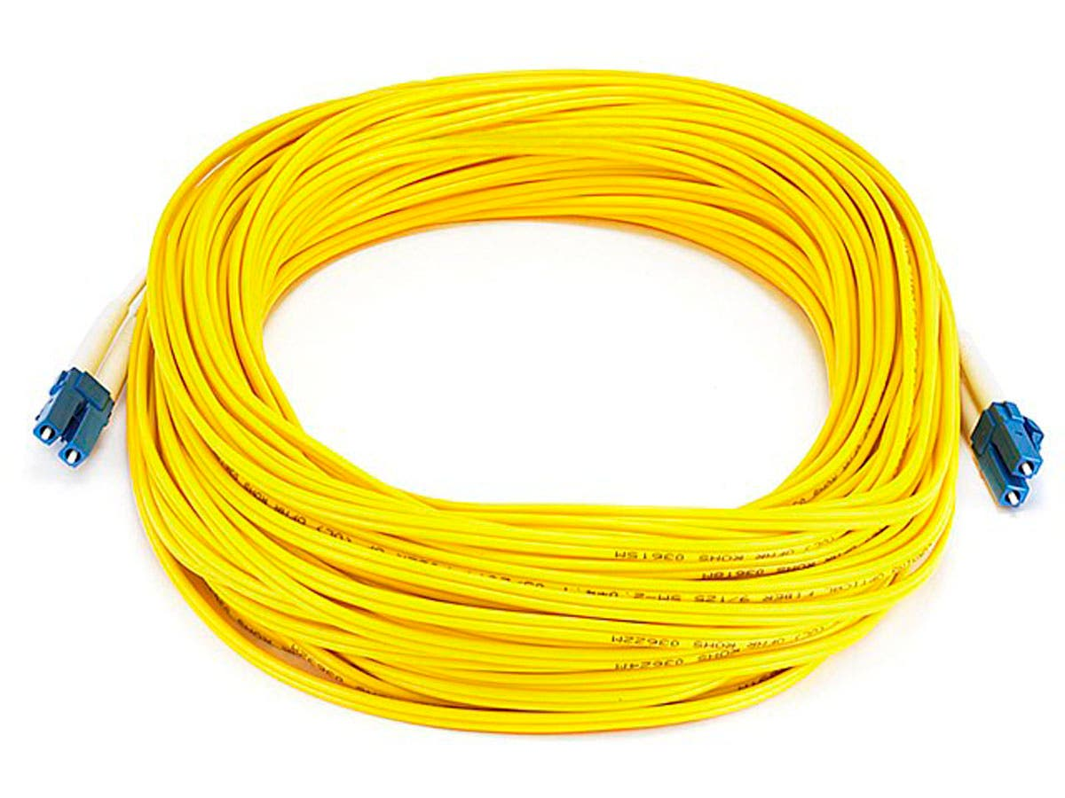 Monoprice Fiber Optic Cable - LC to LC, 9/125 Type, Single Mode, Duplex, Yellow, 25m, Corning-Large-Image-1