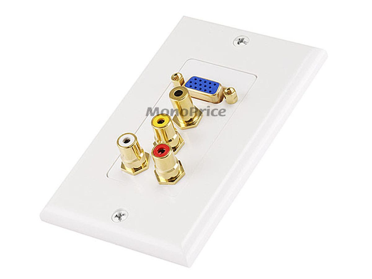 VGA HD15 / 3 RCA Composite / 3.5mm Wall Plate (VGA + Composite + 3.5mm) - Coupler Type