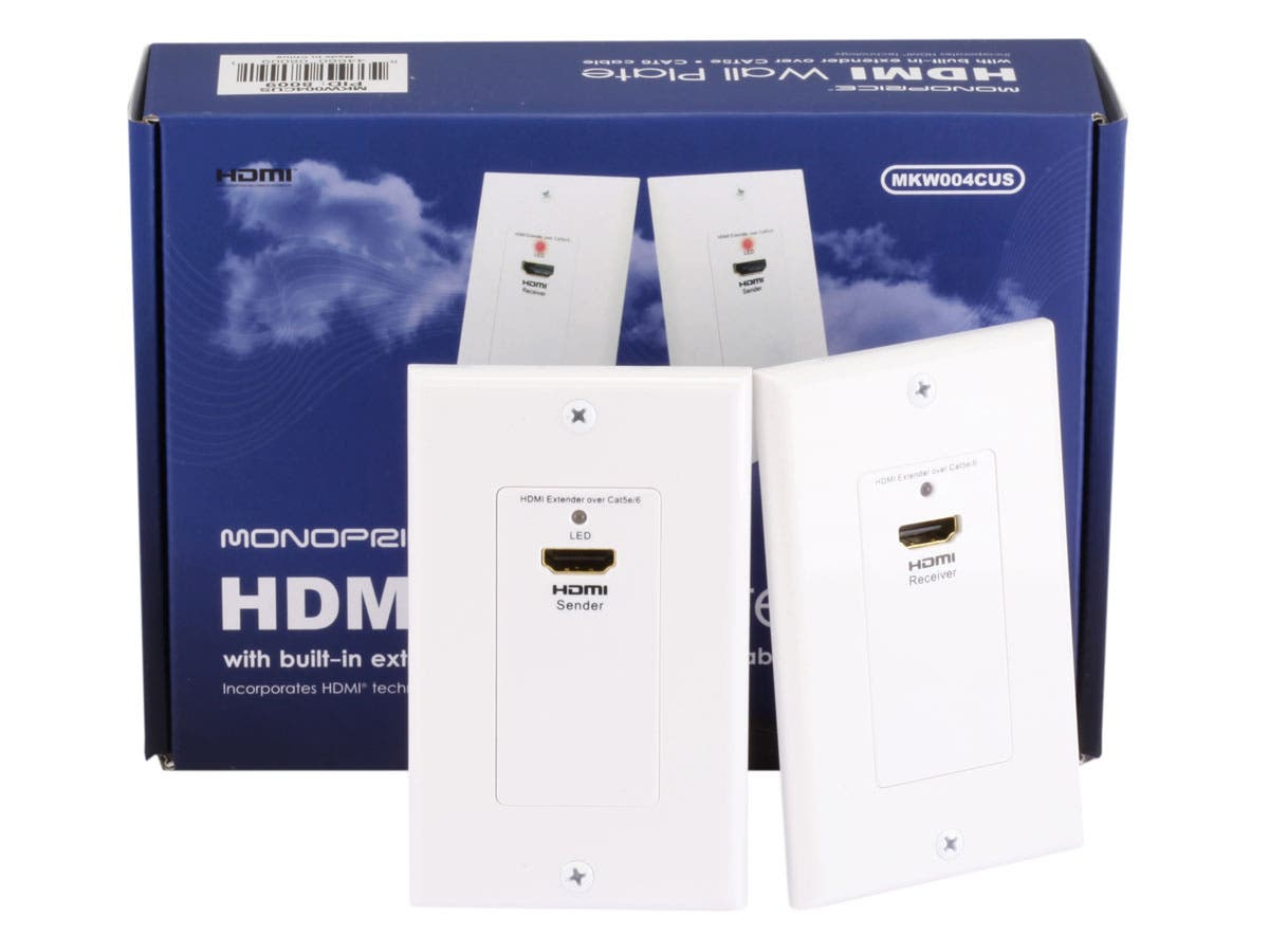 monoprice hdmi over cat5e cat6 extender wall plate pair single rh monoprice com