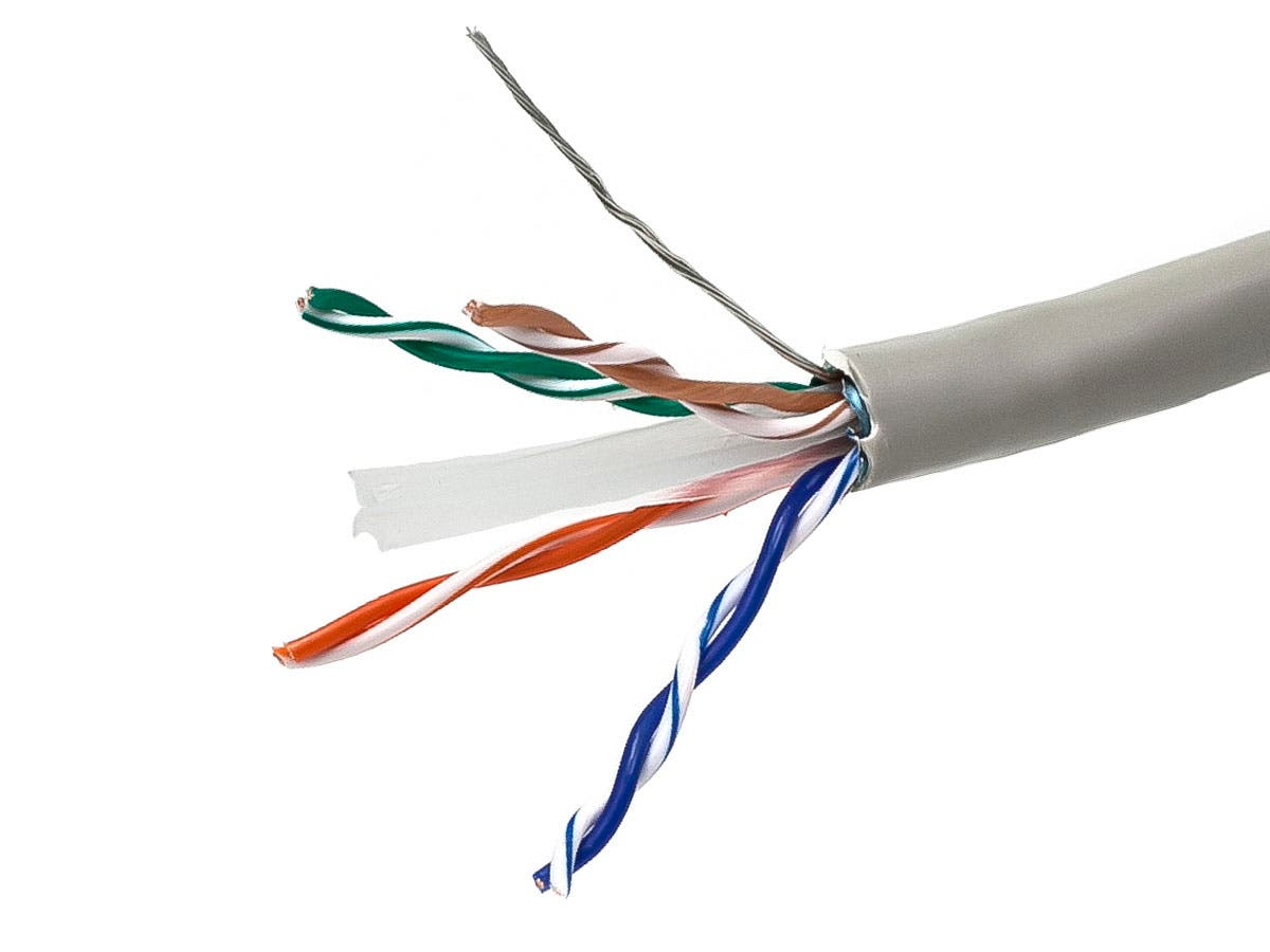 1000FT Cat 6 Bulk Bare Copper Ethernet Network Cable STP, Stranded, In-Wall Rated (CM), 550MHz, 24AWG - Gray