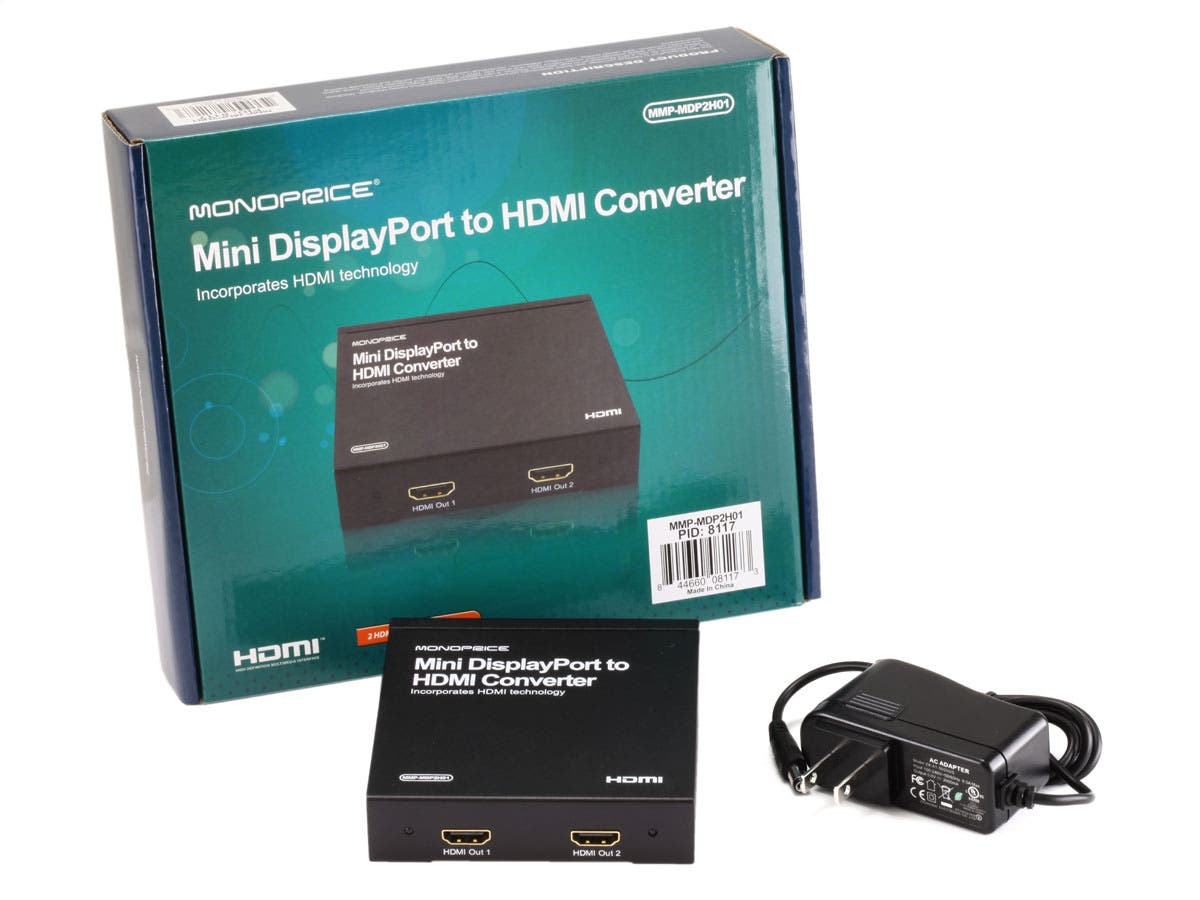 Monoprice Mini DisplayPort to HDMI (2x HDMI Output) Converter with ...