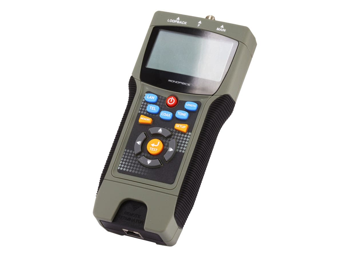 Monoprice Professional Coaxial, RJ-45, and RJ-11/12 Multifunction Tester w/ LCD Display - main image