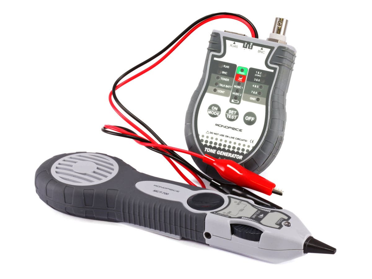 Multifunction RJ-45, BNC, and Speaker Wire Tone Generator, Tracer, Tester