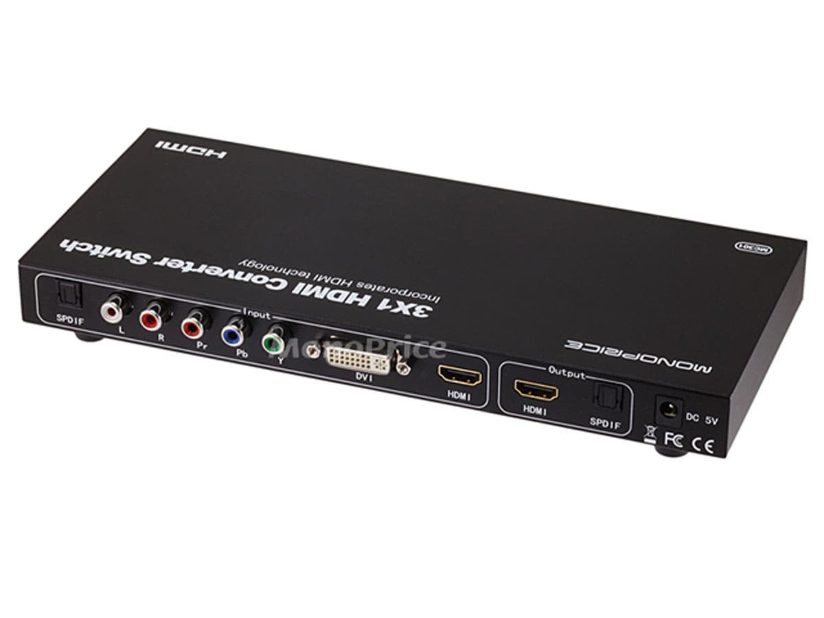3x1 HDMI Converter Switch - HDMI, Component, DVI, Stereo Audio