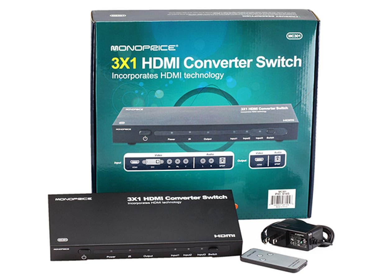 3x1 HDMI Converter Switch - HDMI, Component, DVI, Stereo Audio
