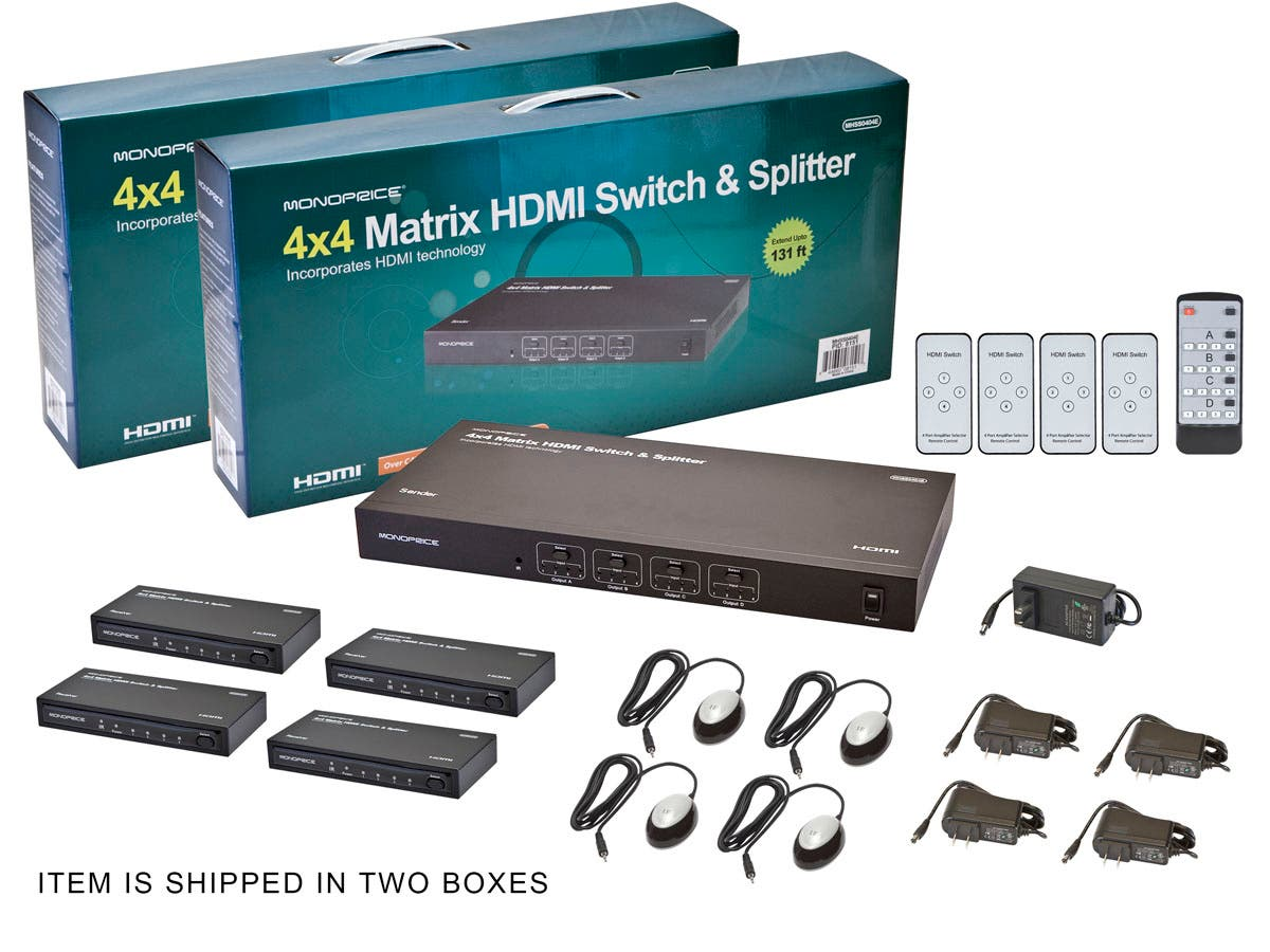 Monoprice 4x4 Matrix HDMI Switch and Splitter over Cat5e/Cat6 Cable ...