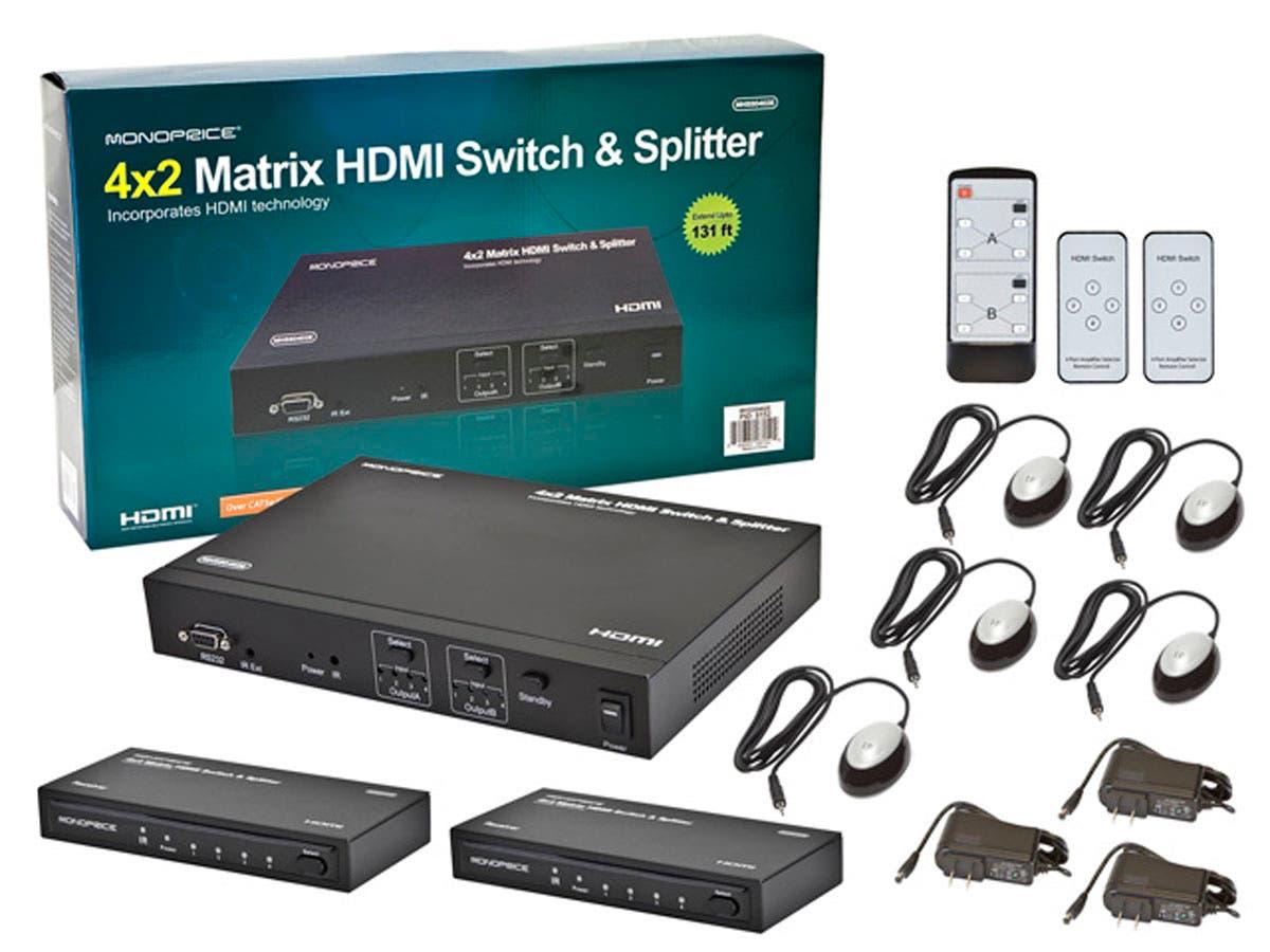 Monoprice 4x2 Matrix HDMI Switch and Splitter over Cat5e/Cat6 Cable ...
