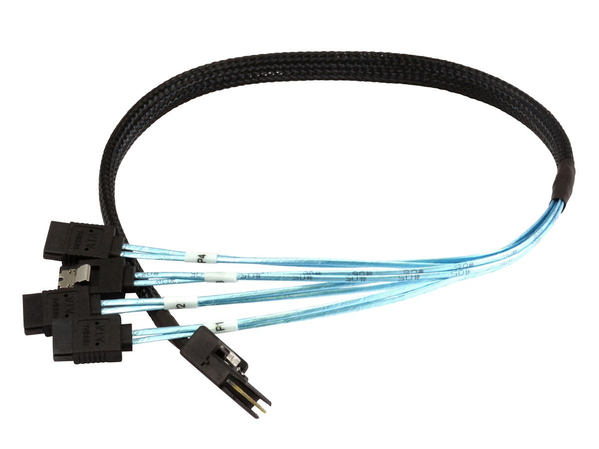 Monoprice 0.5m 30AWG Internal Mini SAS 36pin (SFF-8087) Male w/ Latch to SATA 7pin Female (x4) Forward Breakout Cable - Black-Large-Image-1