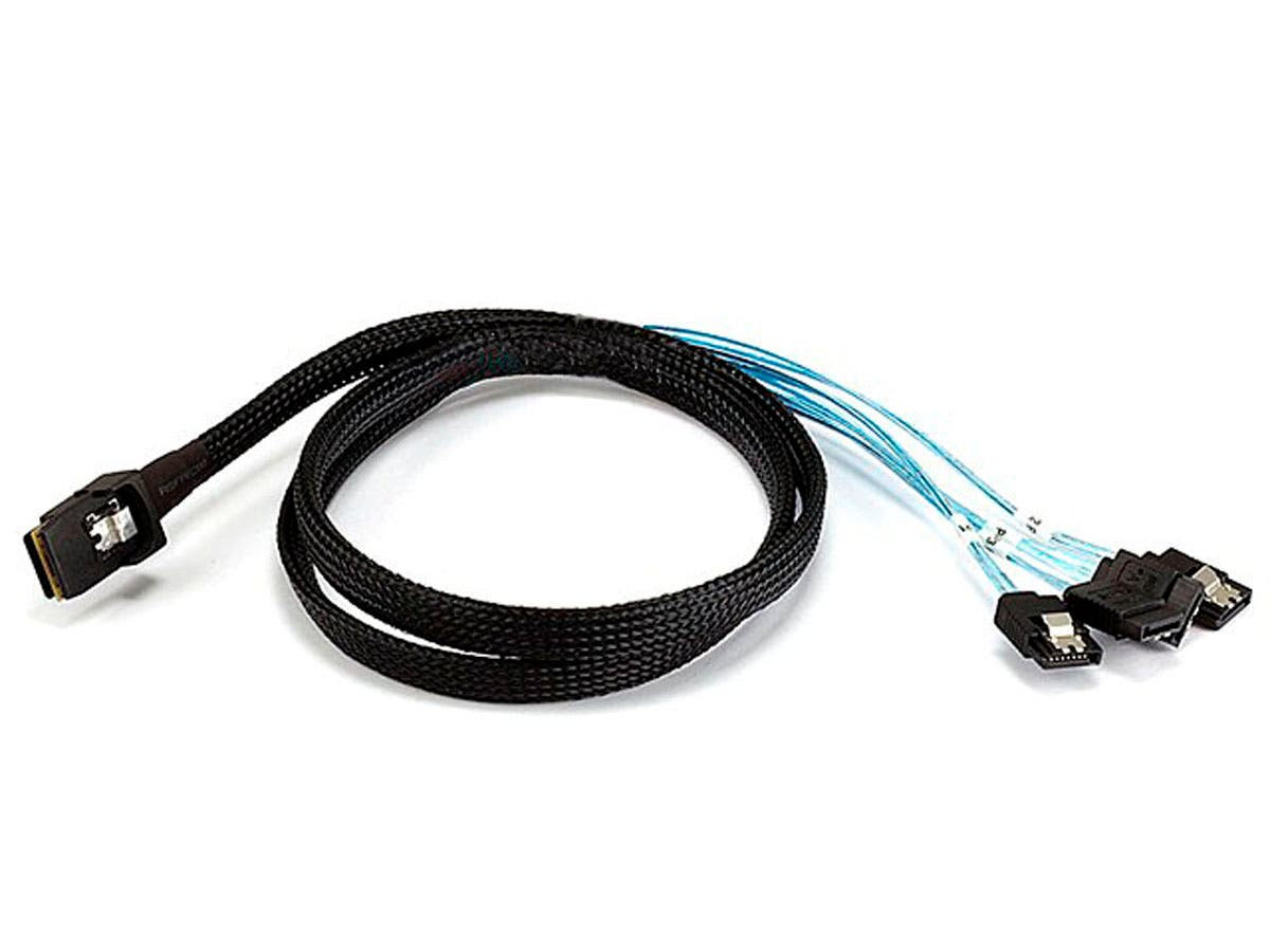 1m 30AWG Internal Mini SAS 36pin (SFF-8087) Male w/ Latch to SATA 7pin Female (x4) Forward Breakout Cable - Black