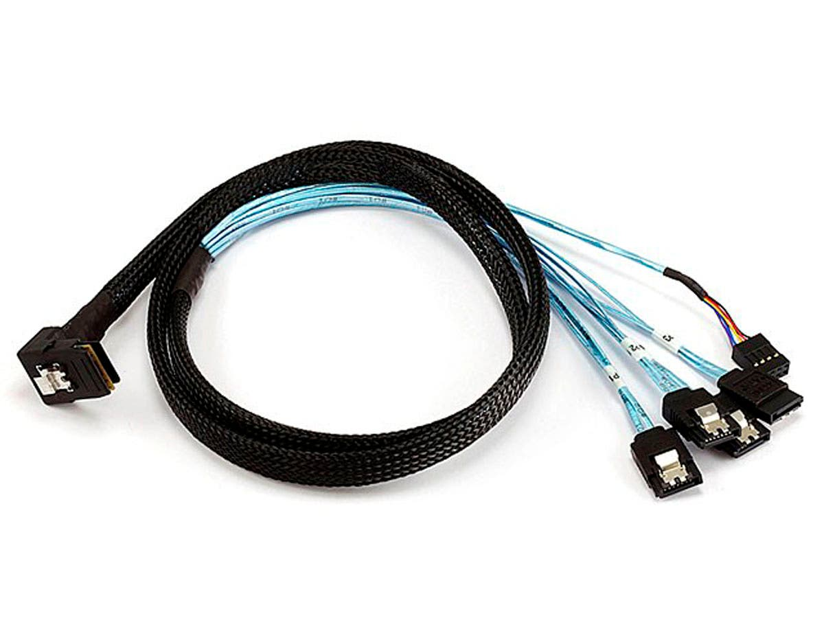 1m 28AWG Internal Mini SAS 36pin (SFF-8087) Male (90 Degree) to SATA 7pin Female w/ Latch (x4) Forward Breakout Cable - Black